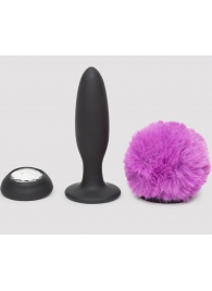 Черная анальная вибропробка Rechargeable Vibrating Bunny Tail Butt Plug Small - Happy Rabbit