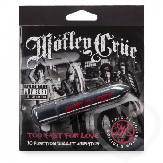 Серебристая вибропуля Motley Crue Too Fast for Love - Motley Crue